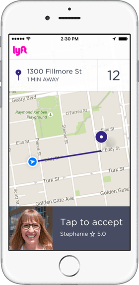 In-app screenshot of accepting a ride request